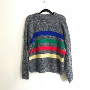 •Vintage• Multi Color Stripe Oversized Sweater